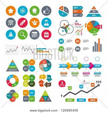 Wifi, calendar and web icons. Online shopping, e-commerce and business icons. Start up, award and customers like signs. Big sale, shipment and favorite symbols. Diagram charts design.