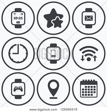 Clock, wifi and stars icons. Smart watch icons. Wrist digital time watch symbols. Mail, Game joystick and wi-fi signs. Calendar symbol.