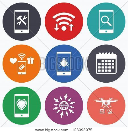 Wifi, mobile payments and drones icons. Smartphone icons. Shield protection, repair, software bug signs. Search in phone. Hammer with wrench service symbol. Calendar symbol.
