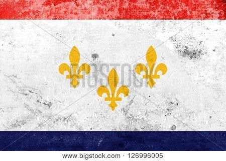 Flag Of New Orleans, Louisiana, With A Vintage And Old Look
