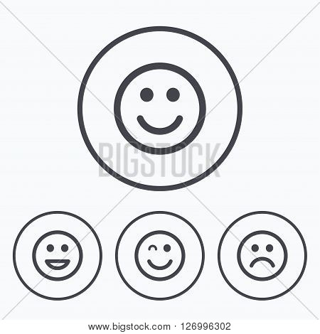 Smile icons. Happy, sad and wink faces symbol. Laughing lol smiley signs. Icons in circles.