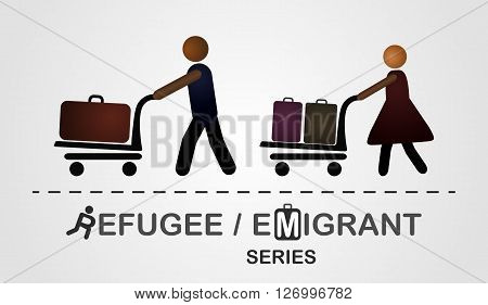 The man and woman move with luggage on the cart. Illustration created on the grey background. Emigrant / refugee series
