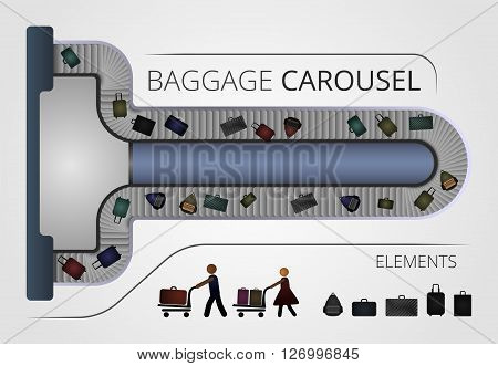 The Baggage carousel construction. Illustration includes people and baggage elements