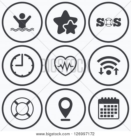 Clock, wifi and stars icons. SOS lifebuoy icon. Heartbeat cardiogram symbol. Swimming sign. Man drowns. Calendar symbol.