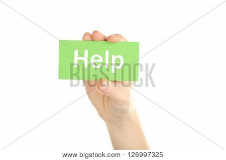 Hand holding card on a white background, help