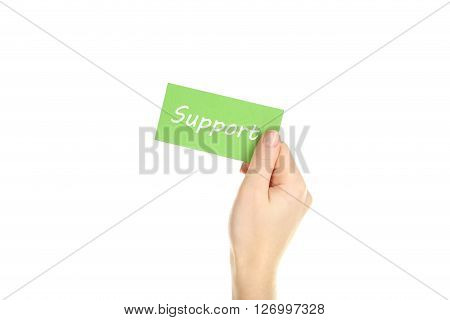 Hand holding card on a white background, support