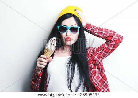 Fashion Girl Hipster In Glasses And Shirt On White Background