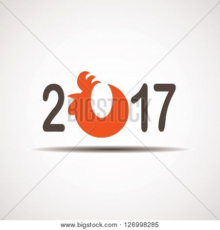 Inscription 2017 with a fiery rooster. Happy New Year. Rooster as a symbol of the new year. Congratulatory poster or banner. New year vector.