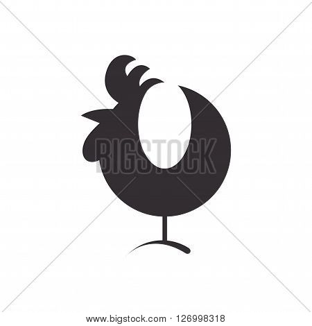Cock. Icon cock. Rooster silhouette isolated on white background. Rooster symbol of the New Year. Cock vector. Vector illustration.