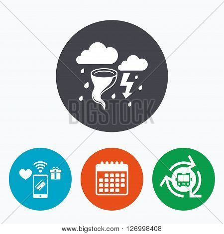 Storm bad weather sign icon. Clouds with thunderstorm. Gale hurricane symbol. Destruction and disaster from wind. Insurance symbol. Mobile payments, calendar and wifi icons. Bus shuttle.