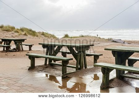 Photo of benches and sand dunes on the beach