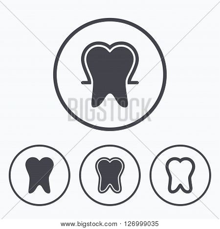 Tooth enamel protection icons. Dental toothpaste care signs. Healthy teeth sign. Icons in circles.