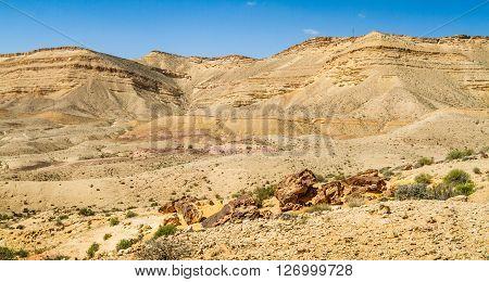 Landscape Makhtesh Gadol or Large Crater in Negev desert in the early spring, Israel