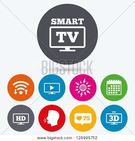 Wifi, like counter and calendar icons. Smart TV mode icon. Widescreen symbol. High-definition resolution. 3D Television sign. Human talk, go to web.