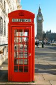 stock photo of big-ben  - a red telephone booth near the big ben - JPG