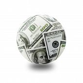 picture of one hundred dollar bill  - globe formed of american one hundred dollar bills over white backgroud - JPG