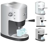 picture of kitchen appliance  - Espresso machine in 4 variation - JPG