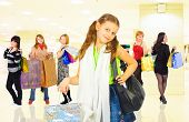 picture of shopping center  - group of girls in a shopping center   - JPG