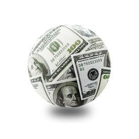 image of one hundred dollar bill  - globe formed of american one hundred dollar bills over white backgroud - JPG