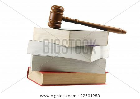 Wooden Gavel On Books