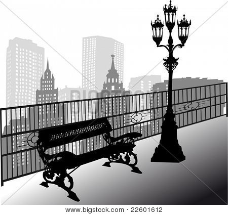 Illustration with bench and street lamp in city