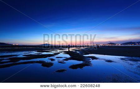 beach and sea sunset in Pak Nai , Hong Kong
