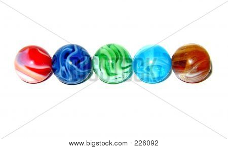 Multi Colored Marbles On White Background