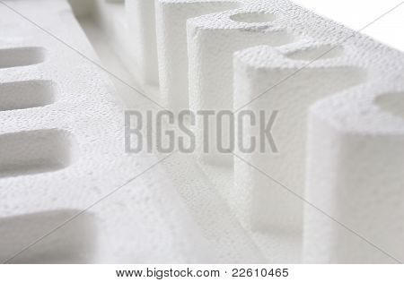Close Up Of Polystyrene Padding For Product Packaging
