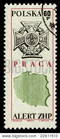 POLAND-CIRCA 1969:A stamp printed in POLAND shows image of Zwiazek Harcerstwa Rzeczypospolitej (Scouting Association of the Republic, ZHR) is a Polish Scouting organization, circa 1969.