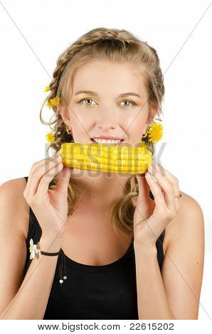 woman eating corn-cob