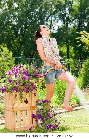 Summer Garden Smiling Woman Watering Hose Flower Grass