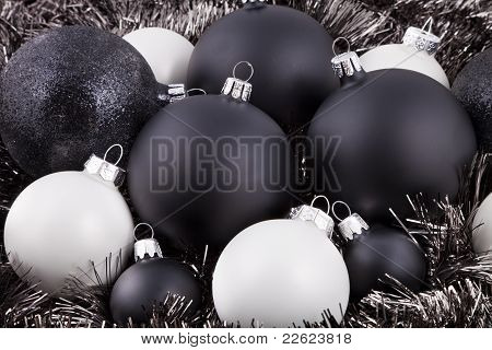 Black, White And Taupe Christmas Decorations
