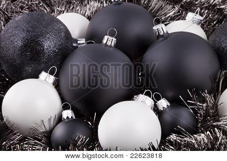 Preto, branco e cinza decorações de Natal