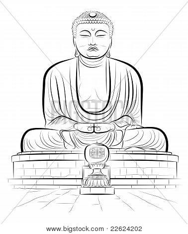 Drawing Giant Buddha Monument In Kamakura, Japan