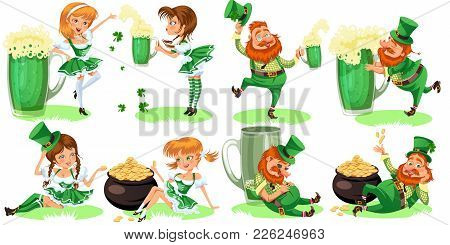 poster of Saint Patrick Day Characters, Leprechaun And Girl With Mug Of Green Beer, Glass Full Alcohol Ale, Dr