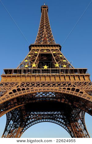 Eiffel Tower with European Circle of Stars