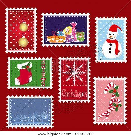 Sets Of Winter Christmas Stamp Postage