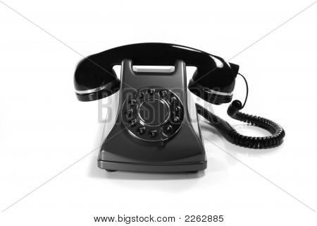 Very Old Analog Phone Isolated On White Background