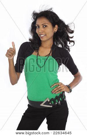 Happy Sri Lankan Girl On white background
