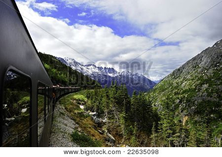 Vintage Train Out Of Skagway Alaska