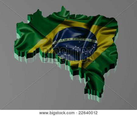 Brazilian map with oficial flag