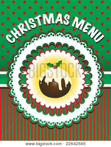 Retro style Christmas Menu template with pudding. Also available in vector format