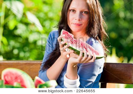 Eating Fresh Melon Beautiful Young Woman Bench