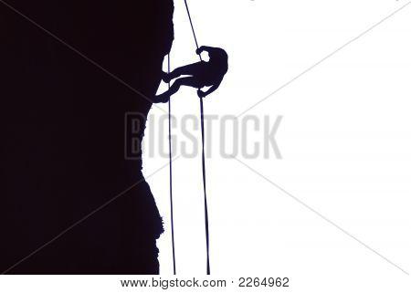 Climber On Rappel