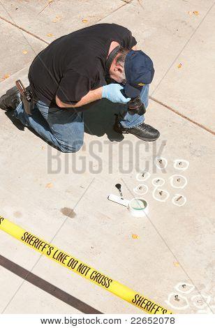 crime scene detective at work
