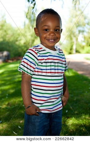 Cute Little African American Baby Boy Smiling