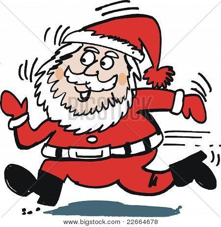 Running Santa vector cartoon
