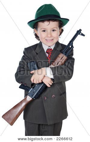 Boy With Machine Gun