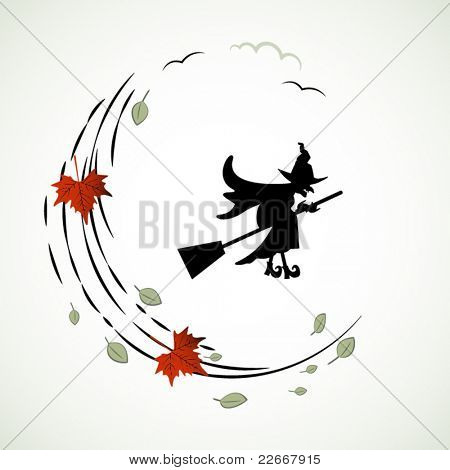 Witch  silhouette on broom wind