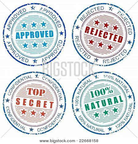 Set of grunge vector stamp prints
